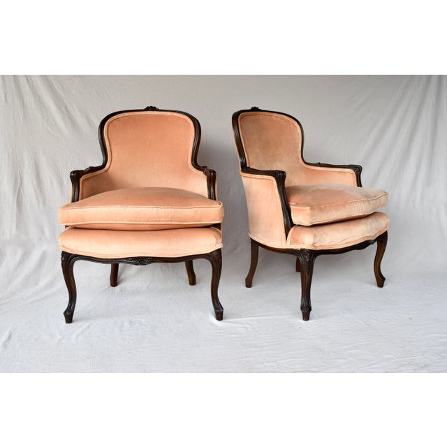 Pair of Louis XV Carved Walnut Bergere Chairs For Sale - Image 12 of 12