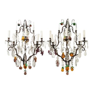 French 19th Century Iron and Crystal Fruitage Sconces - a Pair For Sale