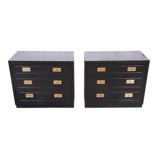 Henredon Hollywood Regency Campaign Black Lacquered Nightstands, Newly Refinished For Sale