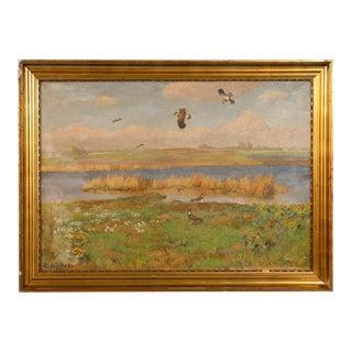 "Original Antique ""Shore Birds in a Marsh"" Landscape Painting Signed C. Hoyrup For Sale"