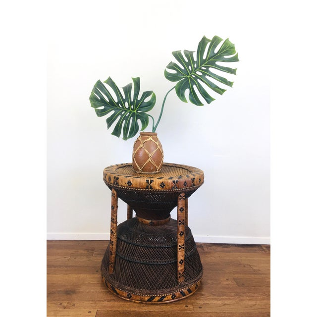 Hollywood Regency Vintage Bohemian Chic Rattan / Wicker Peacock Table For Sale - Image 3 of 6