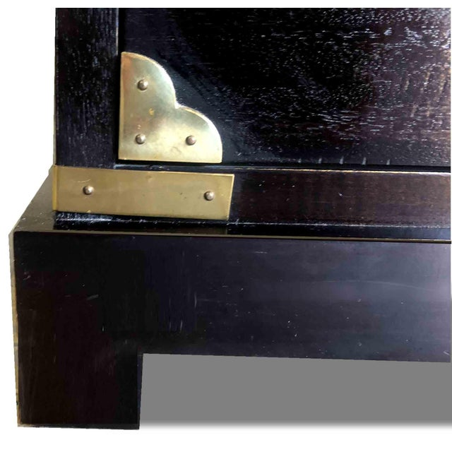 Metal 1970s Chinoiserie Chest in Black and Gold by Century Furniture For Sale - Image 7 of 12