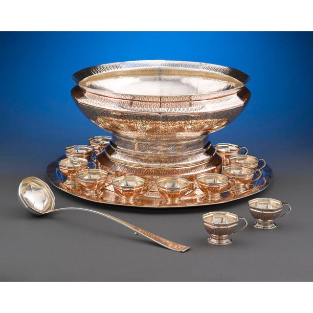 Hollywood Regency Tiffany & Co, Copper Inlaid Silver Punch Service For Sale - Image 3 of 8
