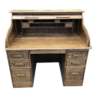 1960s Traditional Solid Oak Rolltop Desk For Sale