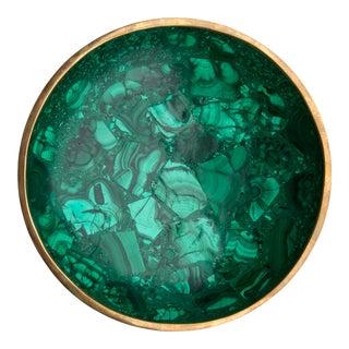 Round Malachite Bowl With Copper Rim For Sale