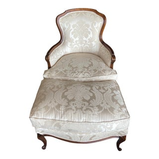 French Bergere Chair and Ottoman For Sale