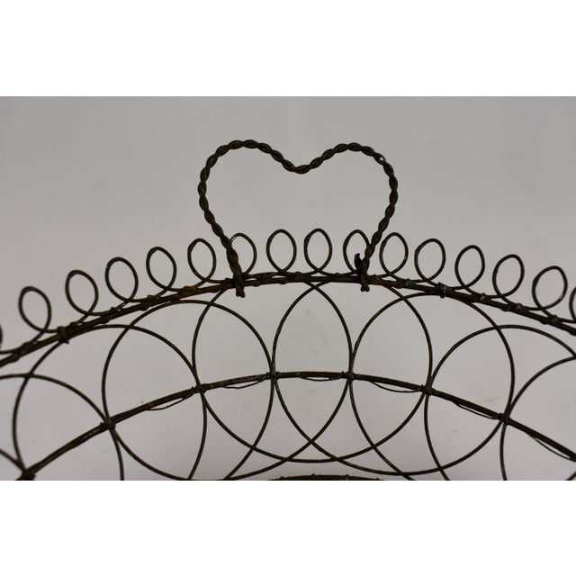 Ceramic Villeroy & Boch Majolica & Heart Handled Wire Basket For Sale - Image 7 of 10