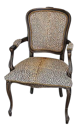 Carved Armchair W/ Hair On Hide Cowhide Cheetah Spots   Image 1 Of
