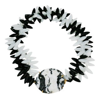 Mwlc Zebra Agate Angel Fish Necklace For Sale