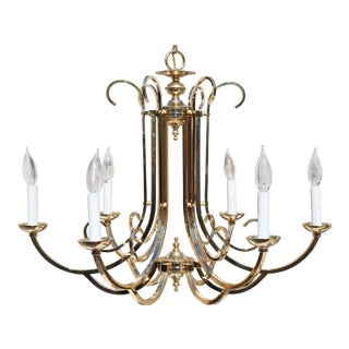Vintage Pagoda Brass Hollywood Regency Chinoiserie Chandelier With Six Lights For Sale