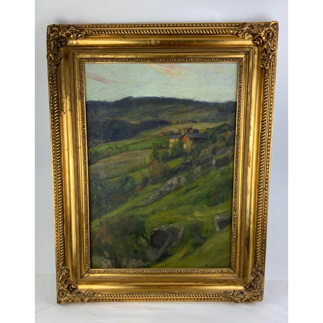 Green 19th Century Plein Air Landscape by Fredrik Borgen, Framed Oil Painting For Sale - Image 8 of 13