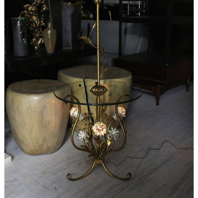 Very nice Italian gilt metal floor lamp. Very beautiful and decorative combination of white and gold.