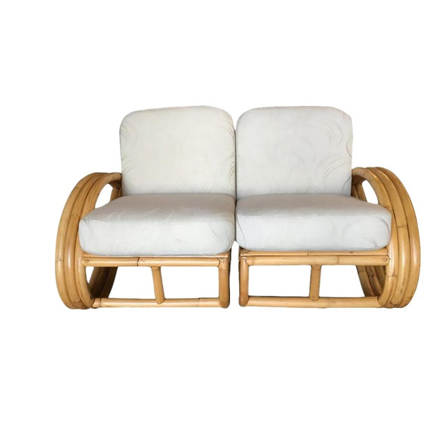 Restored Three-Stranded 3/4 Round Pretzel Sectional Loveseat Sofa For Sale
