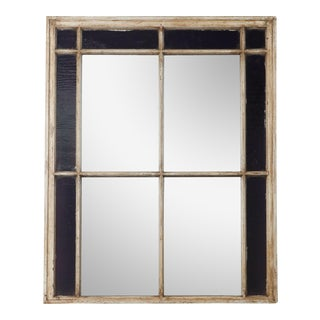 Antique Window Frame With Mirror and Original Stained Glass For Sale