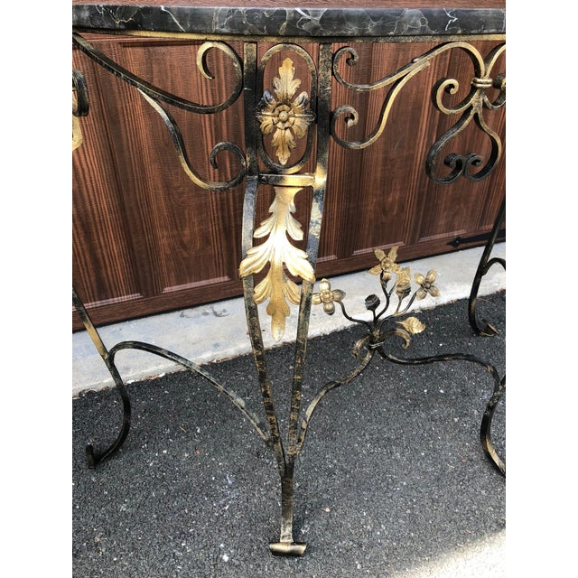 Gold Hollywood Regency Italian Marble & Wrought Iron Demi Lune/Console Table For Sale - Image 8 of 10