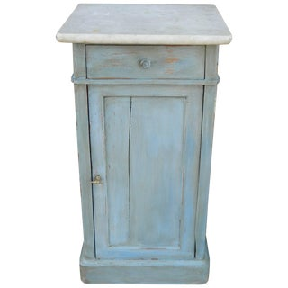 French Painted Nightstand With a Marble Top, Late 19th Century For Sale