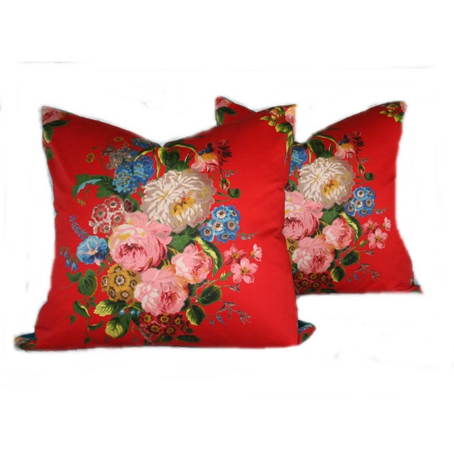 Vintage Red Floral Pillow - Image 4 of 4