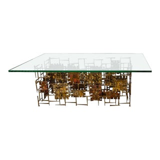 Brutalist Mixed Metal Silas Seandel Coffee Table For Sale