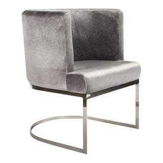 Modern Hazel Silver Curved Accent Chair