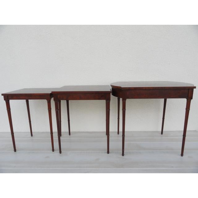Mid 20th Century 20th Century Traditional Baker Furniture Bamboo Style Nesting Tables - Set of 3 For Sale - Image 5 of 12