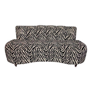 Custom Midcentury Kagan Style Zebra Pattern Sofa For Sale