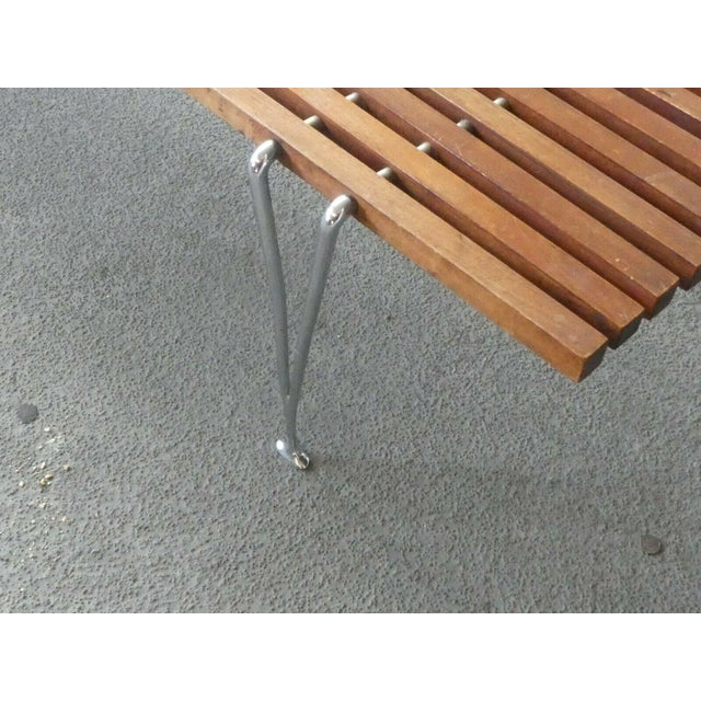 Brown Mid Century Modern Hugh Acton Slatted Wood Bench For Sale - Image 8 of 9