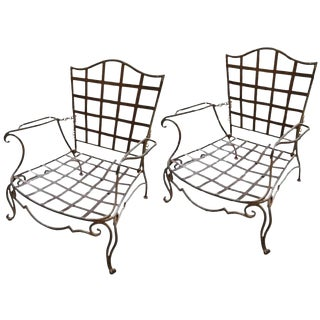 Pair of Jean Charles Moreux Reclining Wrought Iron Chairs For Sale