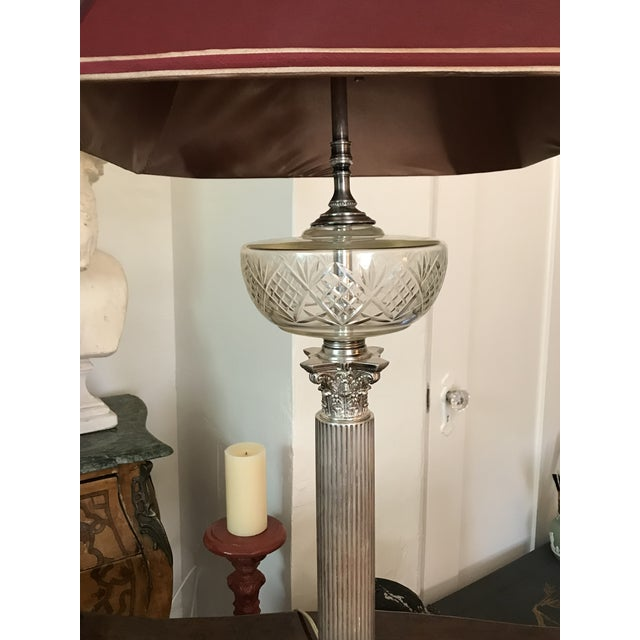 English Victorian Silverplated Oil Table Lamp For Sale - Image 3 of 9
