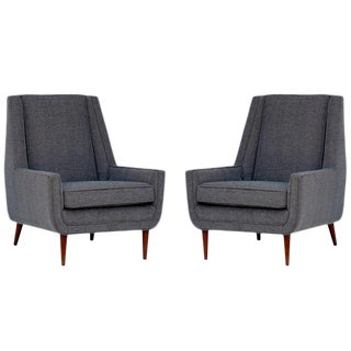Pair of Chic Angular Armchairs For Sale