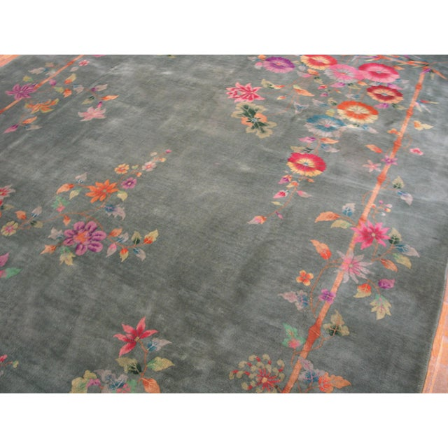 "1920s Antique Chinese Art Deco Rug 8'10"" X 11'8"" For Sale - Image 5 of 12"
