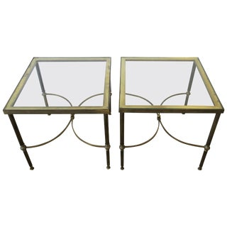 Pair of Midcentury Brass and Glass End Tables After Jansen For Sale