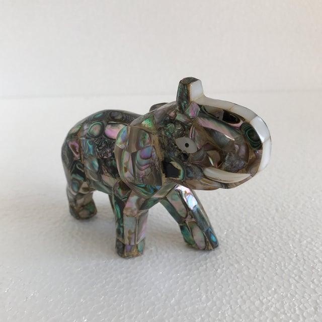 Vintage Abalone Shell Inlay Elephant Figure - Image 2 of 11