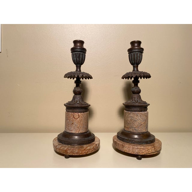 Copper Theodore Alexander Bronze and Marble Candle Stands - a Pair For Sale - Image 8 of 8