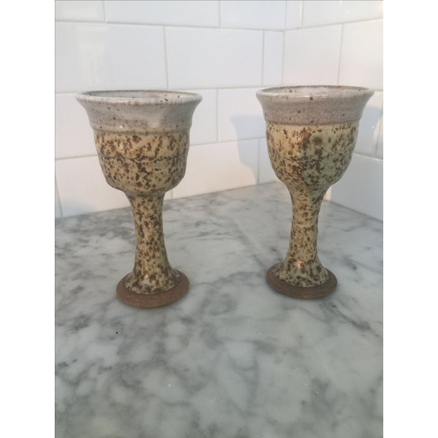 Mid-Century Brown Chalice/Goblets Pottery - Pair - Image 2 of 5