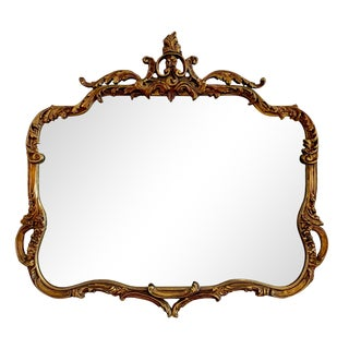 Antique Rococo Style Carved Gilt Wood Wall Mirror For Sale