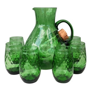 Vintage Blown Green Pitcher & Glass Set For Sale