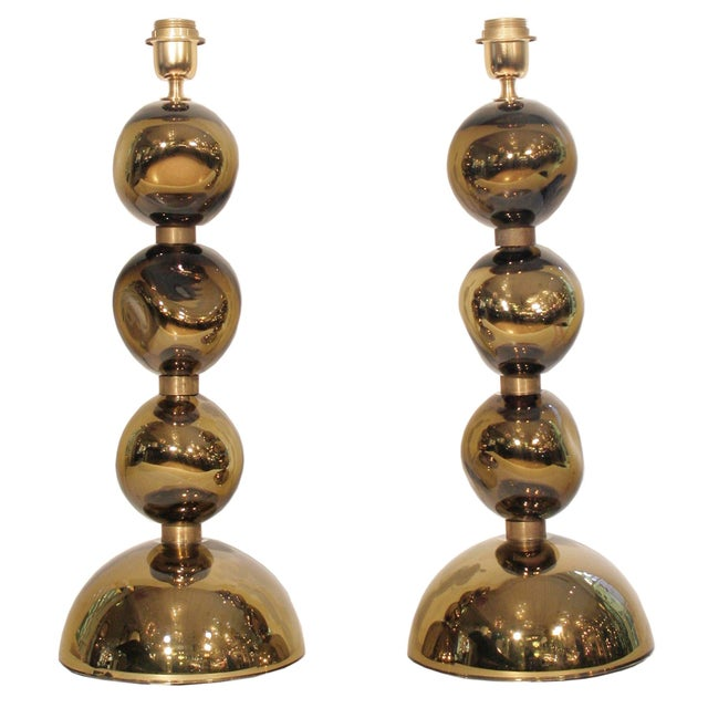 Italian Italian Blown Glass Table Lamps - A Pair For Sale - Image 3 of 3