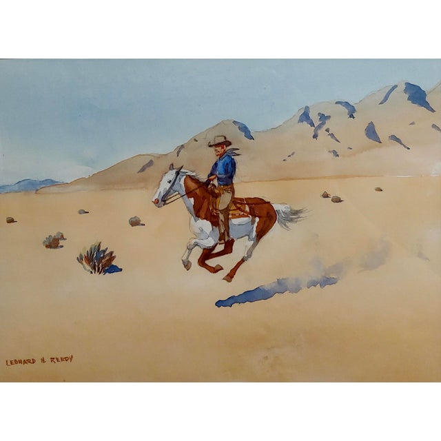 "Country Leonard Reedy ""Cowboy Desert Rider"" Painting For Sale - Image 3 of 8"