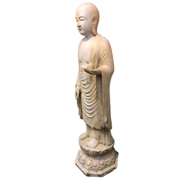 19th Century Hardwood and Polychrome Standing Buddhist Figure For Sale - Image 4 of 5