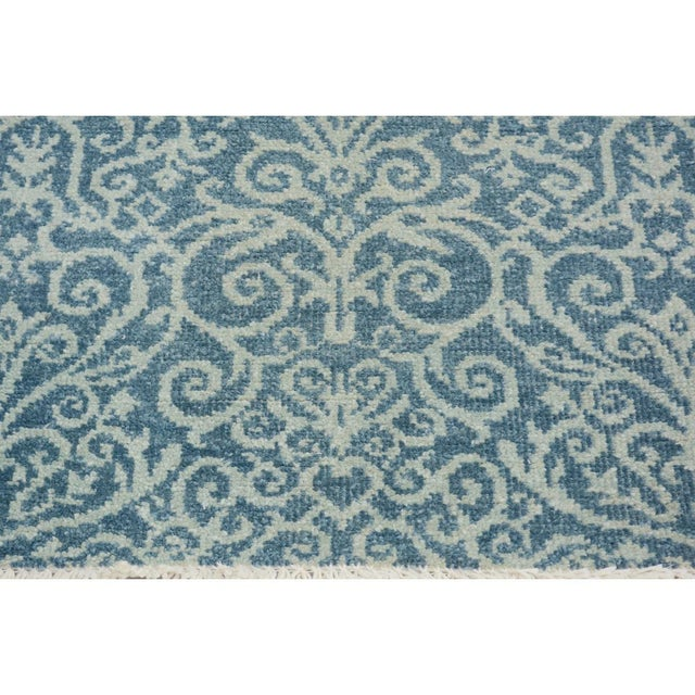 "Kafkaz Peshawar Cyrena Lt. Blue/Lt. Green Wool Runner - 2'5"" X 9'9"" For Sale In New York - Image 6 of 8"