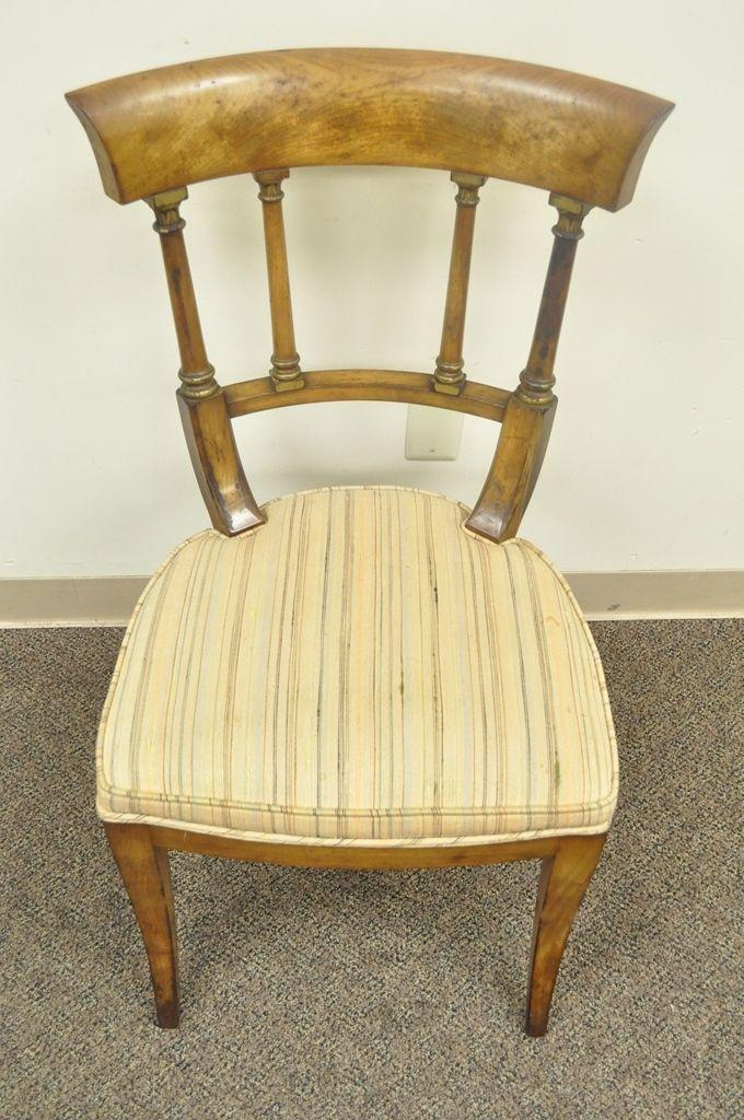 Walnut Antique Regency Empire Style Solid Wood Klismos Saber Leg Side Desk Accent  Chair For Sale