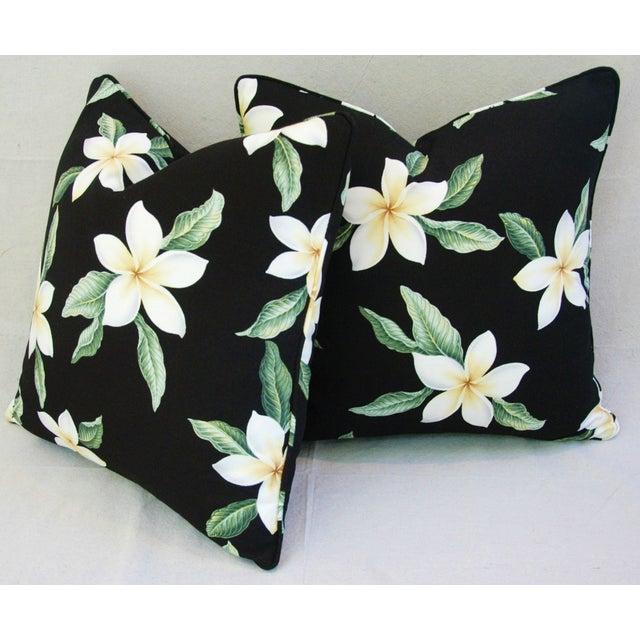 Custom Tropical Blossom Barkcloth Pillows - A Pair - Image 5 of 10