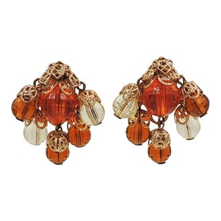 1950s Napier Orange and Yellow Faceted Resin Chandlier Earrings For Sale