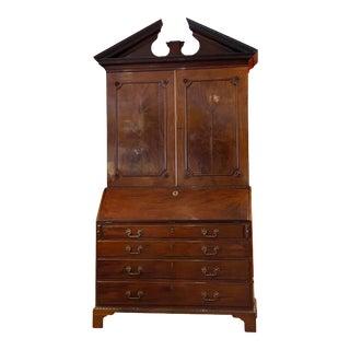 George III Mahogany Slantfront Bureau Bookcase For Sale