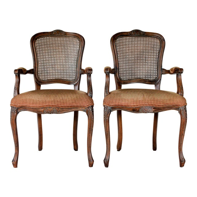 Caned Fauteuils, a Pair For Sale