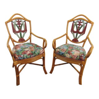 Rattan & Carved Wood Paint Decorated Arm Chairs - a Pair For Sale