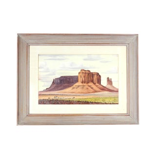 1970s Vintage Goat Herding in Monument Valley Utah Watercolor Painting - Signed For Sale