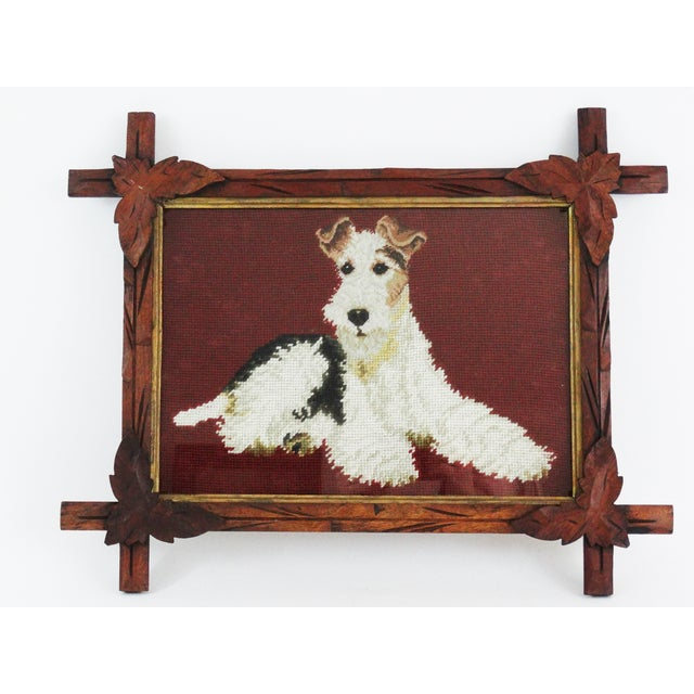 Antique Black Forest Framed English Terrier Dog Needlepoint - Image 2 of 7