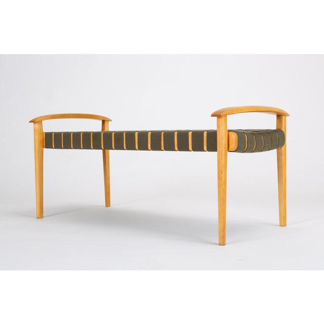American-Made Maple Bench With Woven Seat by Tom Ghilarducci For Sale In Los Angeles - Image 6 of 13
