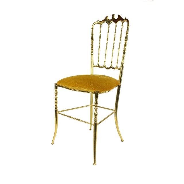 Yellow 1950's Vintage Chiavari Italian Hollywood Regency Gold Gilded Brass Vanity Chair For Sale - Image 8 of 8